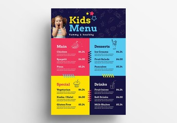 Children's Menu Layout for Kid's Party Events