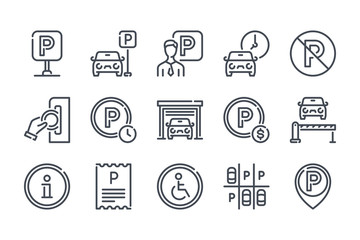 Car parking related line icon set. Paid parking and private entry linear icons. Garage and car-park outline vector sign collection.