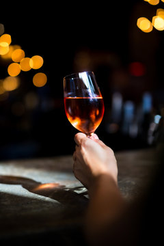 Drinking a glass of rose wine in New York City.