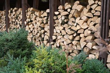 Poster de jardin Texture de bois de chauffage stack of firewood