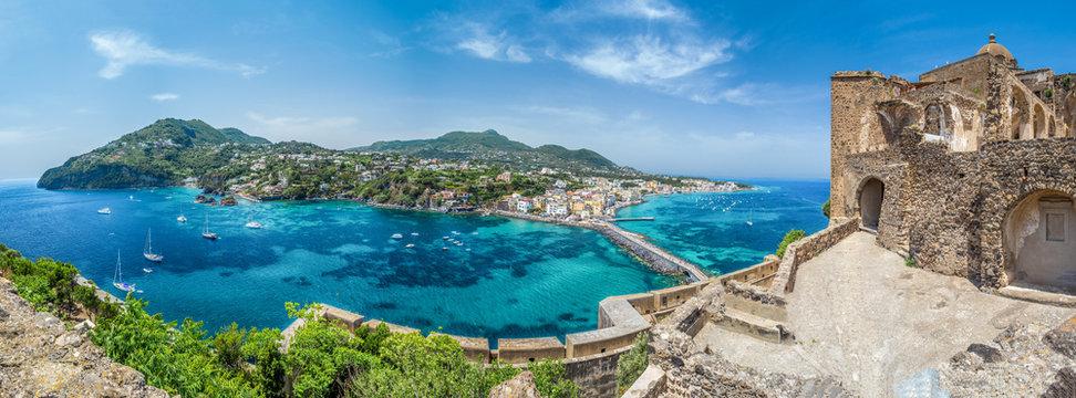 Landscape with Porto Ischia, view on Aragonese Castle, Ischia island, Italy