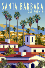 Californian cityscape with palm trees, houses and mountains in the background.
