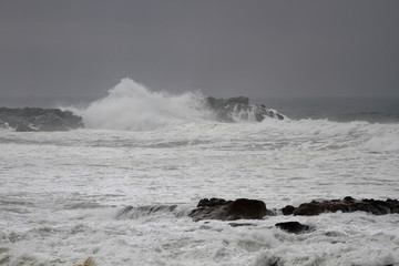 Moody seascape in a stormy afternoon