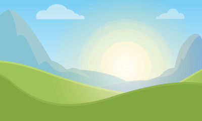 Nature landscape background with green meadow, sky and sun
