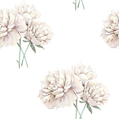 Beautiful hand-drawn bouquet of white peonies and green leaves. Peony seamless pattern.Floral background. Endless pattern of flowers. Watercolor illustration.For backgrounds, textiles, wrapping papers