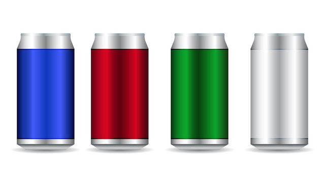 Realistic metal cans. Aluminum bear soda and lemonade cans, energy drink blank mockup.