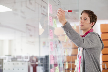 analyst drawing out strategy on glass wall