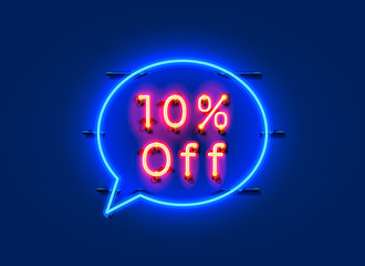 Neon chat frame 10 off text banner. Night Sign board.