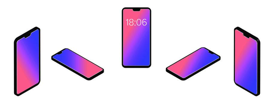 isometric phone in different planes, 3d volumetric, gradient background