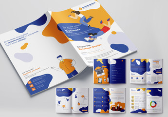 Bright Brochure Layout with Vector Character Illustrations