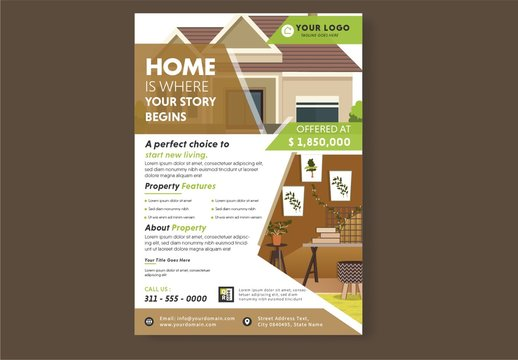 Flyer Layout with Real Estate Illustrations