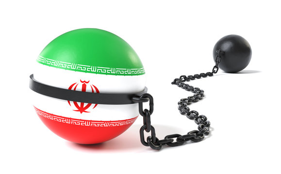 Iran Crisis and Conflict - Iranian Flag Tied to a Restraint Device