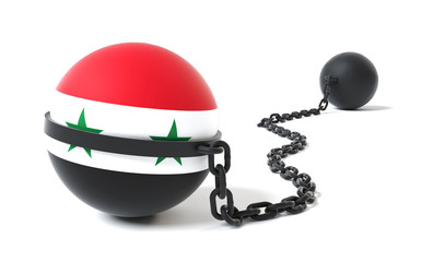 Syria Crisis and Conflict - Syrian Flag Tied to a Restraint Device