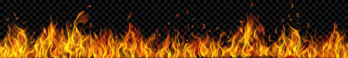 Banner of translucent fire flames and sparks with horizontal repetition on transparent background. For used on dark illustrations. Transparency only in vector format