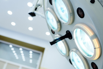surgical lamp close-up in a modern medical clinic