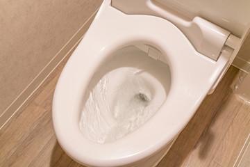 水洗トイレの水を流す