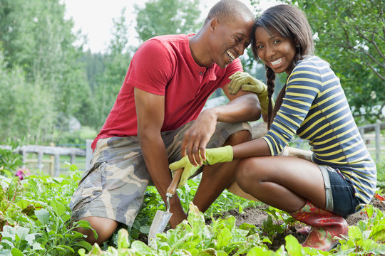 African American couple being affectionate in vegetable garden