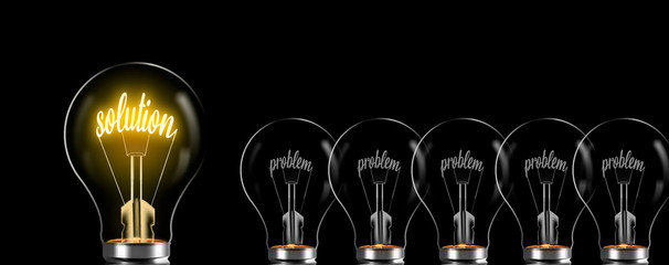 solution concept and prolem. solution word glows in bulb, problem is uninspiring