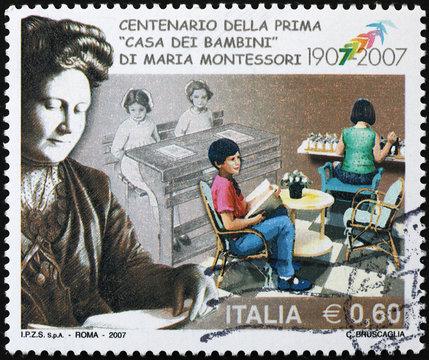 Portrait of Maria Montessori on italian postage stamp