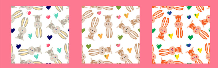 Vector seamless cute pattern with a hare, a rabbit and hearts. Illustration for packaging, cards, textiles, print. Funny cute pictures. Doodle drawn by hand. Pattern for children.