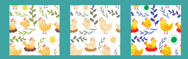 Vector seamless cute pattern with hens, leaves, sun. Illustration for packaging, postcards, textiles, print. Easter picture. Funny cute pictures. Doodle drawn by hand. Pattern for children.
