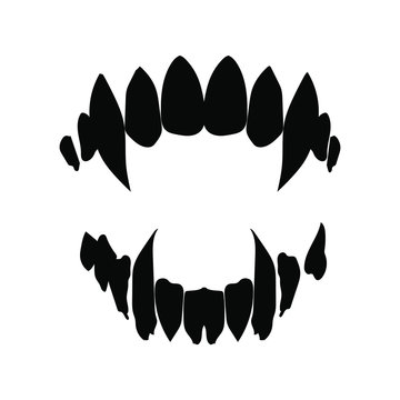 vampire teeth vector isolated on white background