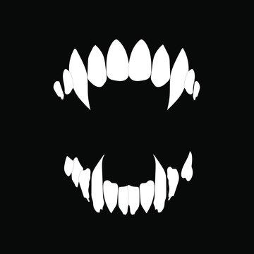 Vampire teeth vector isolated on black background