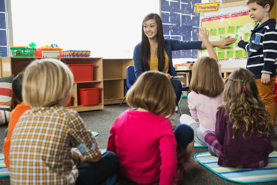 Teacher reviewing days of the week with elementary students