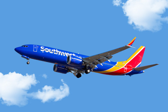 Chicago, USA - January 31, 2018: Southwest Airlines 737-800 Max aircraft on final approach at Midway Airport.