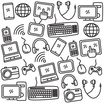 Set of gadget and internet doodle vector illustration such as smartphone, laptop, computer, website and more