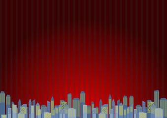ビル 都市 風景 レッドストライプ背景
