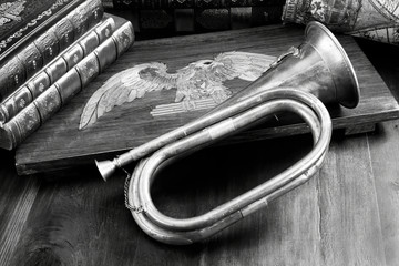Antique Brass Bugle and Eagle.
