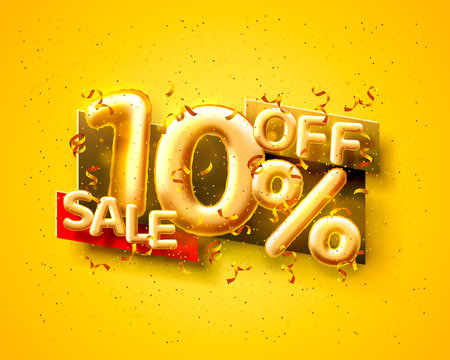 Sale 10 off ballon number on the yellow background.