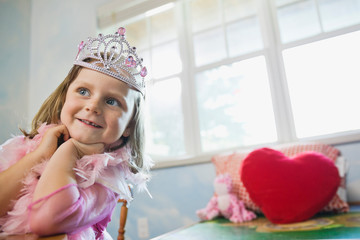 Portrait of little girl dressed up as a princess