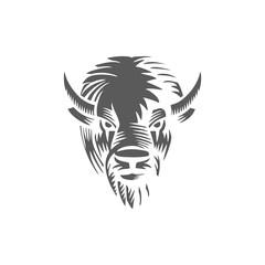 Buffalo head logo hand drawn