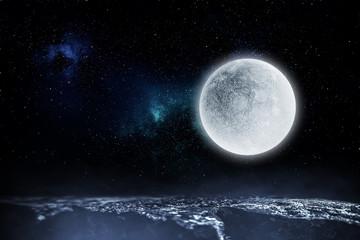 Full moon background . Mixed media