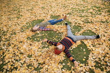 Brother and sister making angels in autumn leaves