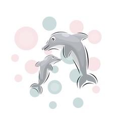 cute dolphin mascot cartoon design vector