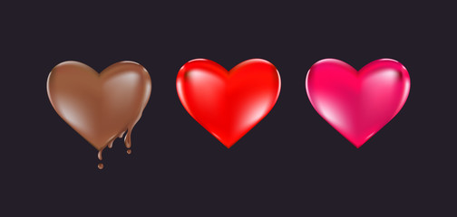 Valentine's day heart design,Big Red Heart, Chocolate heart, Pink Heart Vector illustration