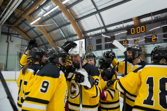 Womens ice hockey team celebrating in arena