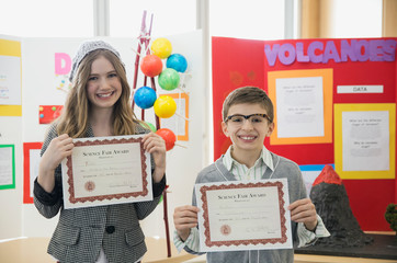 Elementary students with awards at science fair