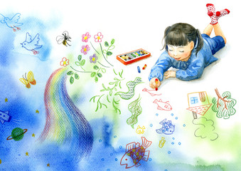 A little girl drawing a picture