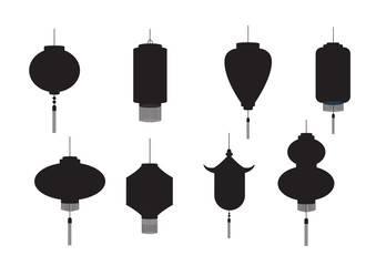 Set of hanging silhouette Chinese lanterns isolated on white background,Vector illustration.