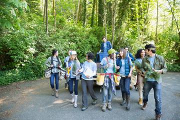 Tree planting volunteers in woods