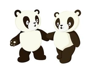 Two stylized pandas full body drawing. Simple panda bear icon or logo design