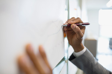 Close up businessman drawing line graph