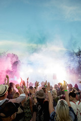 Powder over crowd at summer music festival