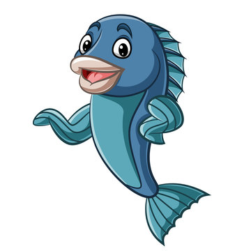 Cartoon fish mascot waving hand