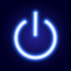 Power button icon from glowing blue neon luminescence lines on classic blue dark background. Vector illustration.