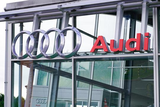 Audi dealership car sign logo shop automobile manufacturer store